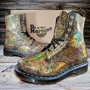 Dr Martens 1460 Iridescent Gold Crackle Ankle Boot